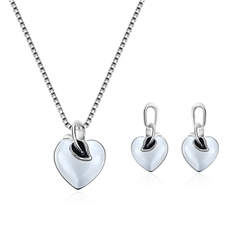Leaf Heart Shaped Box Chain Alloy Jewelry Sets