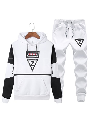Letter Printed Hooded Slim Fit Casual Men's Sports Suit