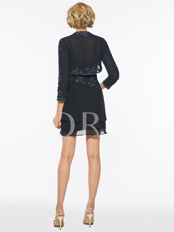 Spaghetti Straps Sequined Short Mother of the Bride Dress
