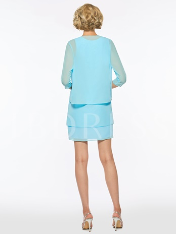 Straps Sheath Short Mother Of The Bride Dress