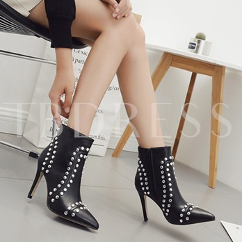 Black Boots with Beads High Heel Shoes for Women