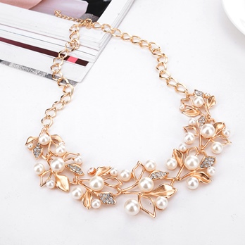 Sweet Full Drill Pearl Leaves Wedding Jewelry Sets