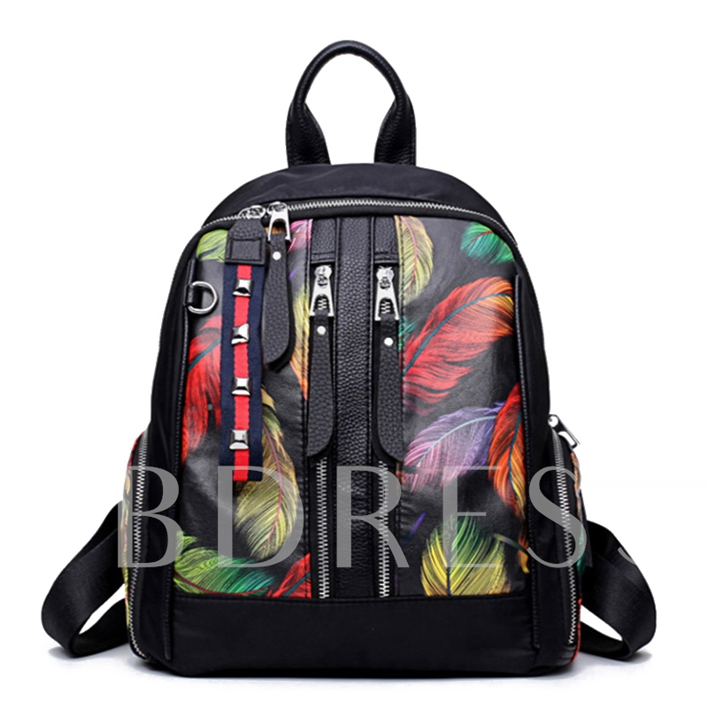 Personality Colorful Feather Pattern Zipper Backpack