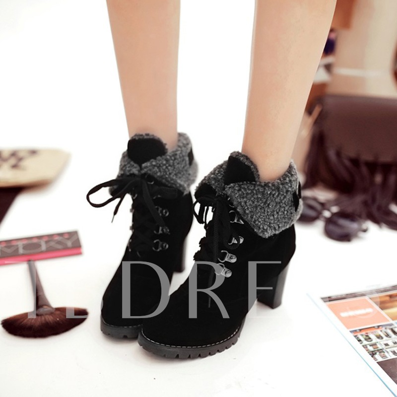 Thick Heel Lace Up Warm Boots for Women