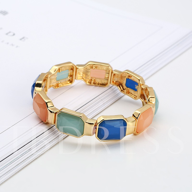 Colorful Reshin Alloy Overgild Geometric Bracelet