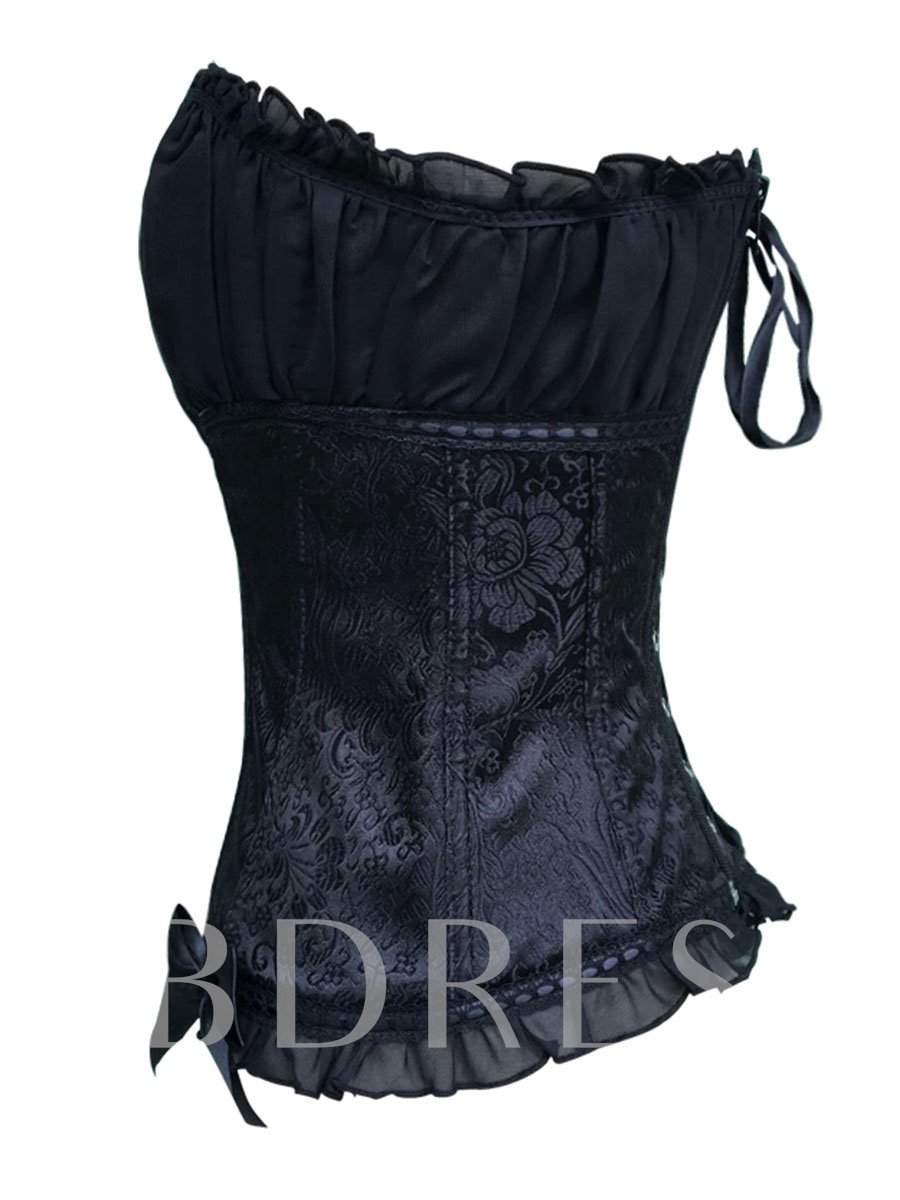 Backless Pleated Lace-Up Bowknot Corset