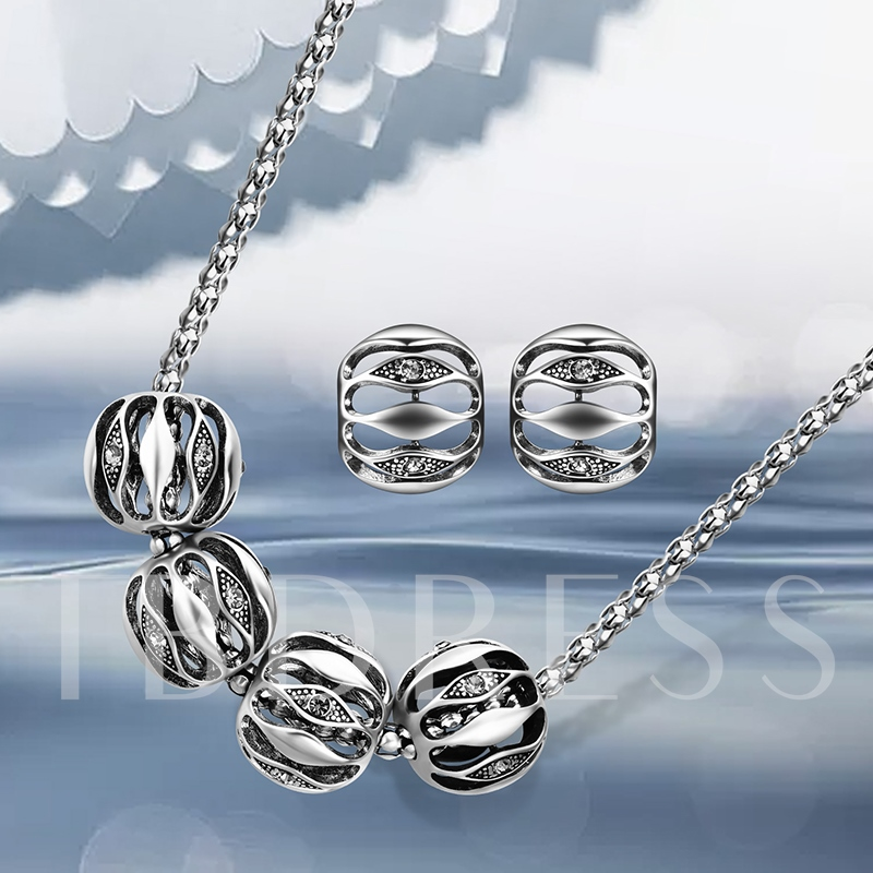 Popcorn Chain Silver Plated Alloy Hollow Out Jewelry Sets