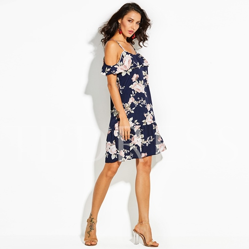 Strappy Floral Women's Vacation Day Dress