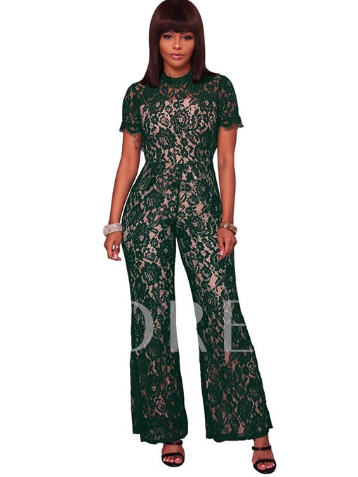 Elegant Mesh Backless Floral Lace Women's Jumpsuits