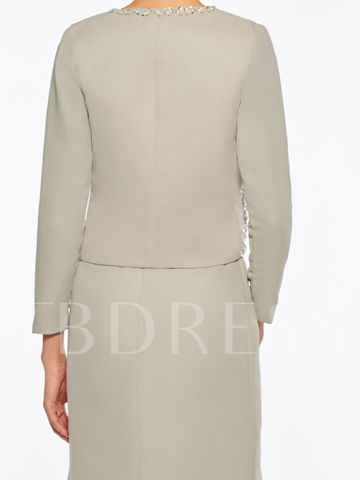 Beaded Straps Sheath Mother Dress with Jacket