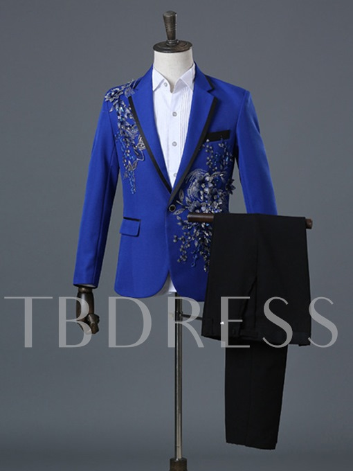Notched Collar Floral Printed One Button Casual Men's Dress Suit