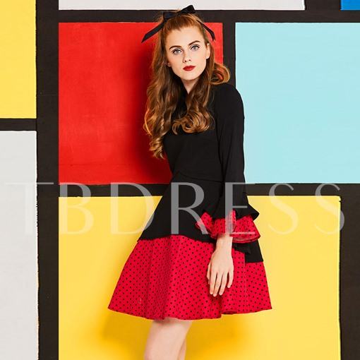 Bell Sleeve Double-Layered Polka Dots Women's Day Dress