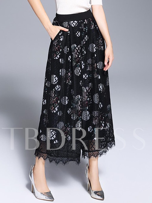 Floral Print Mesh Wide Legs Women's Casual Pants