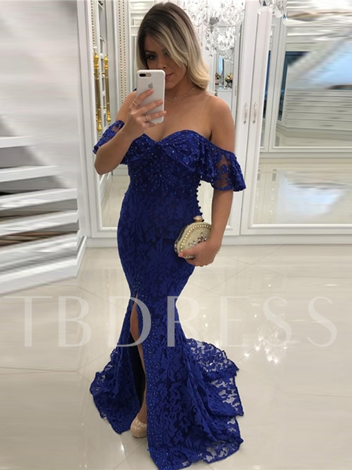 Off-the-Shoulder Trumpet Lace Beading Lace Evening Dress
