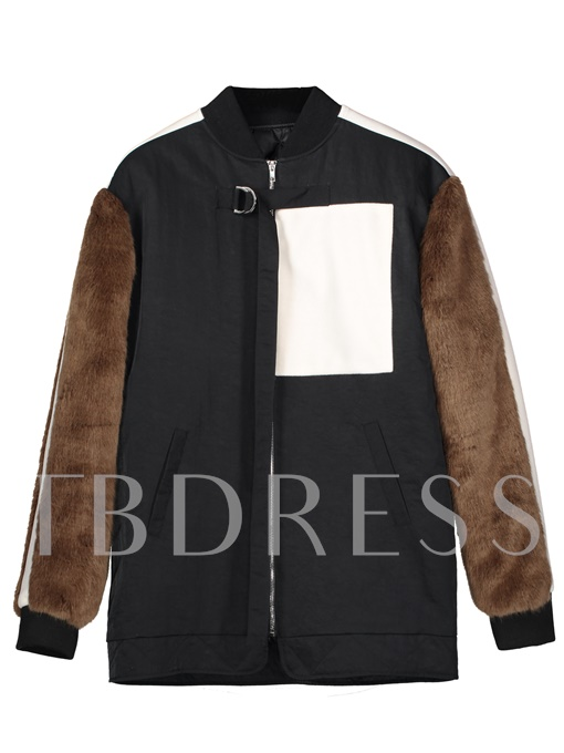 Color Block Stand Collar Women's Jacket