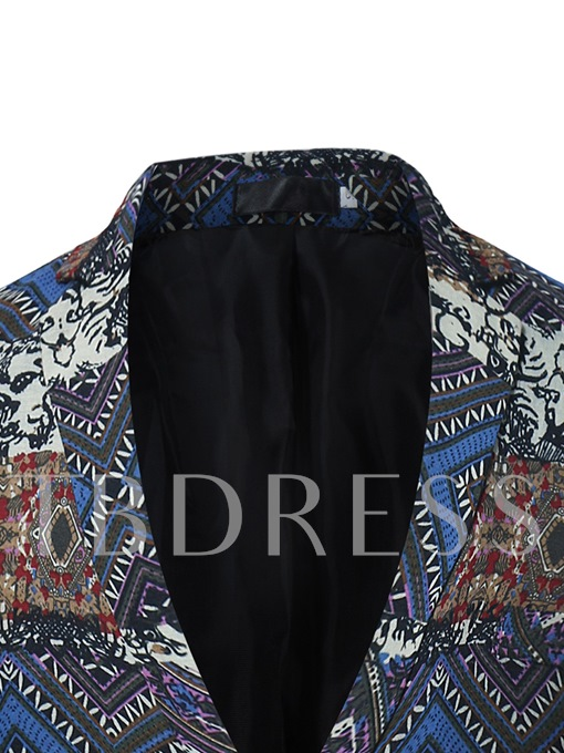 Notched Collar Ethnic Floral Printed Patchwork Double Button Slim Fit Men's Blazer
