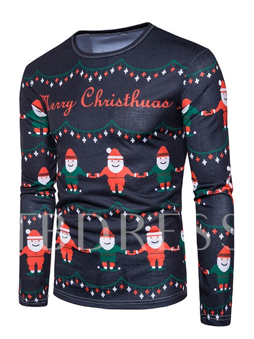 Christmas Theme Round Collar Santa Claus Printed Slim Men's T-Shirt