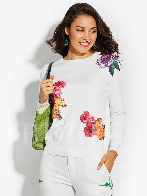Plain Floral Round Neck Vacation Women's Sweater