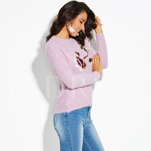 Straight Floral Plain Pullover Vacation Women's Sweater