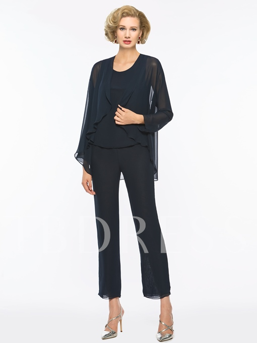 Chiffon Mother of the Bride Jumpsuit with Long Sleeve Jacket