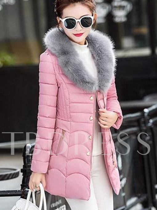 Faux Fur Collar Slim Fit Women's Thick Overcoat