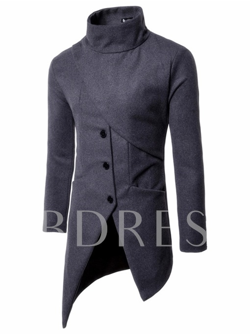 Stand Collar Midi Pattern Irregular Solid Color Slim Fit Men's Trench Coat