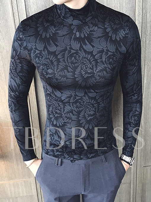 Turtleneck Floral Printed Sexy Slim Fit Men's Casual Sweater