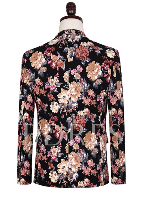Notched Collar One Button Ethnic Floral Printed Slim Fit Men's Dress Suit