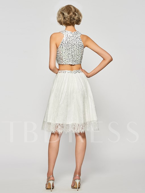 Two Pieces Lace Rhinestone Knee-Length Cocktail Dress