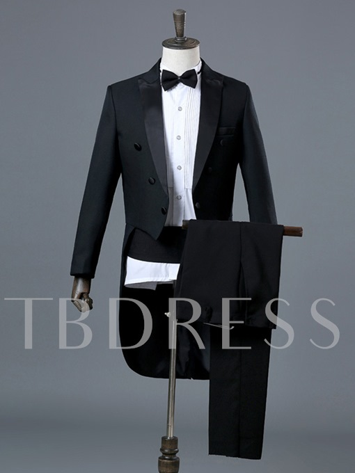 Notched Collar Solid Color Slim Men's Swallow-Tailed Dress Suit