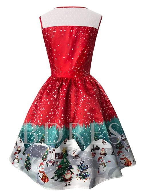 Christmas Sleeveless Christmas Pattern Women's Day Dress