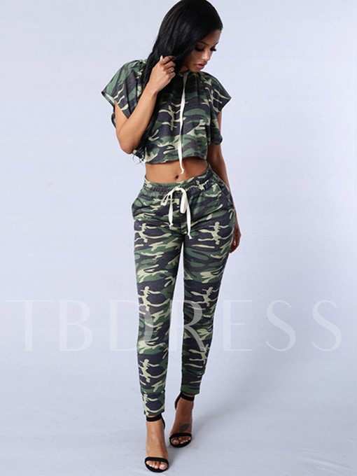 Camouflage Lace-Up Hooded Women's Two Piece Set