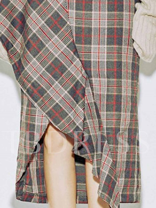 Asymmetric High-Waist Plaid Print Women's Skirt