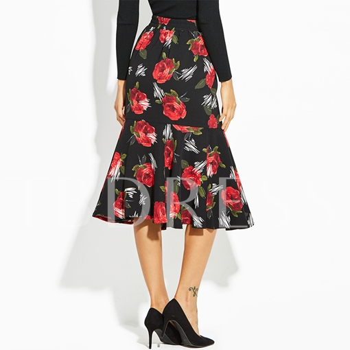 Color Block Floral Print Vacation Women's Skirt