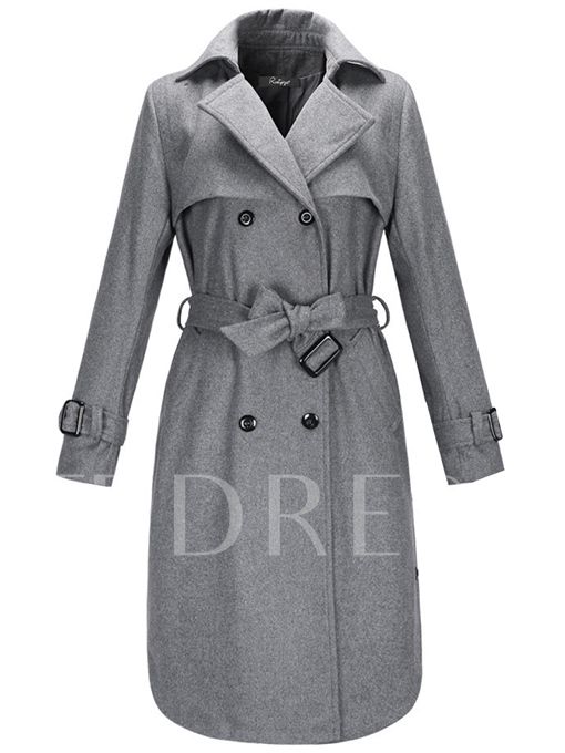 Double-Breasted Plain Slim Fit High-Waisted Women's Trench Coat