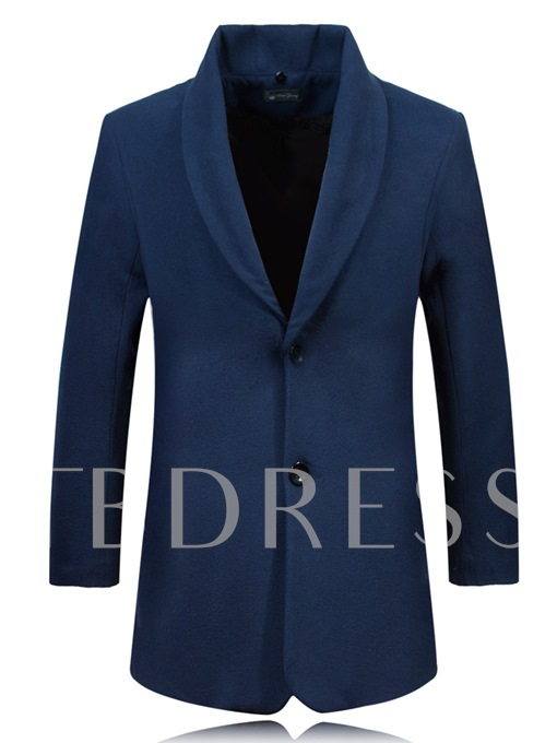 Detachable Collar Warm Solid Color Men's Woolen Coat