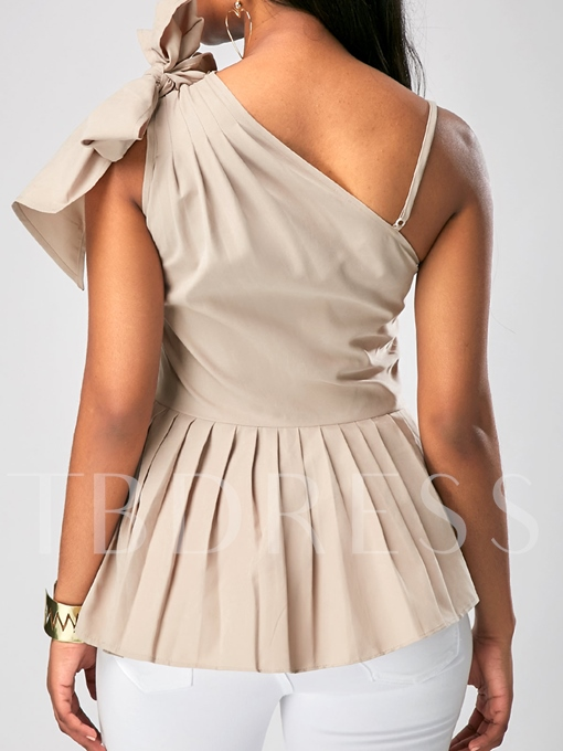 Sexy Oblique Collar Bowknot Backless Women's Blouse