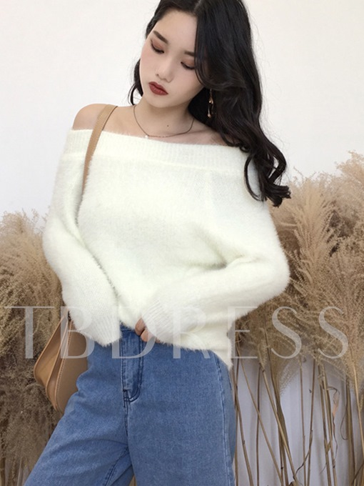 Plain Slash Neck Warm Pullover Women's Sweater
