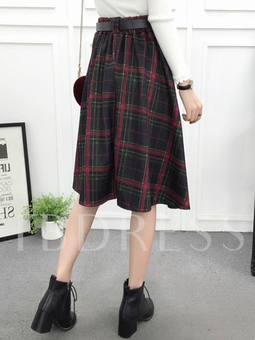 Plaid Print A-Line Mid Calf Belt Women's Skirt