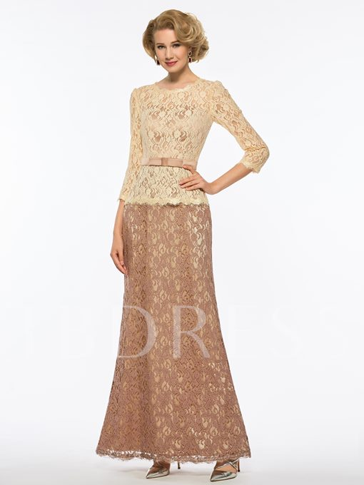 3/4 Length Sleeves Lace Mother Of The Bride Dress