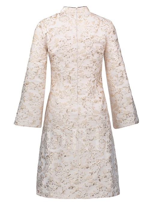 Mandarin Collar Appliques Women's Long Sleeve Dress