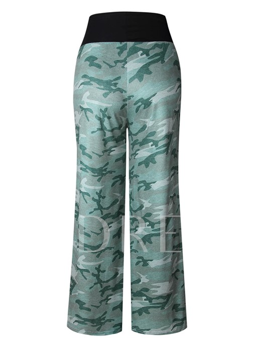 Loose Lace-Up Full Length Camouflage Women's Pants