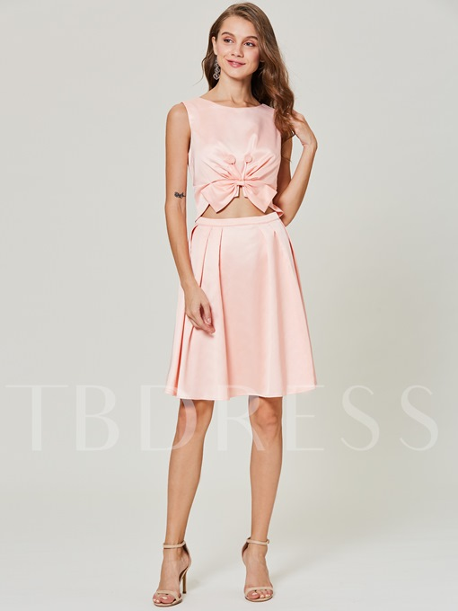Pink Knot Backless Women's Day Dress