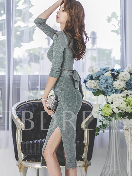 Elegant Long Sleeves Split Women's Two PIece Dress