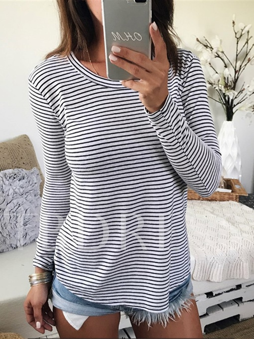 Stripe Render Backless Slim Fit Women's T-Shirt
