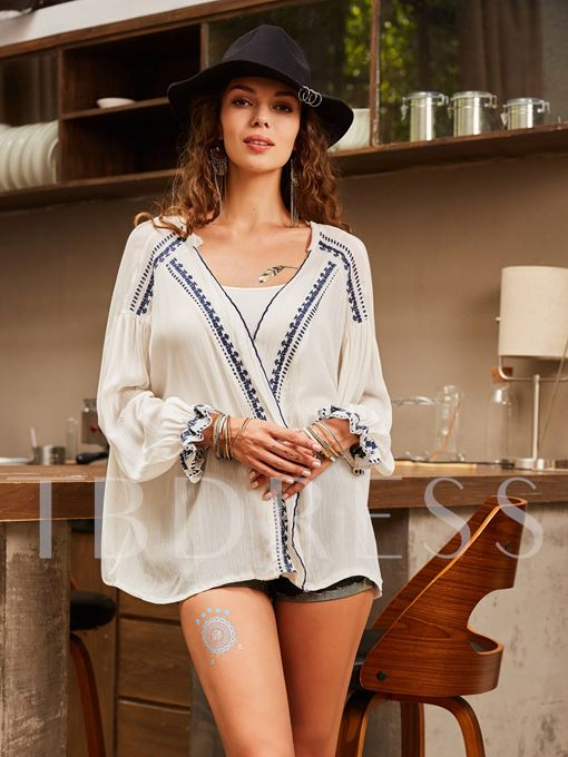 Loose V-Neck Embroideried Wrapped Women's Blouse