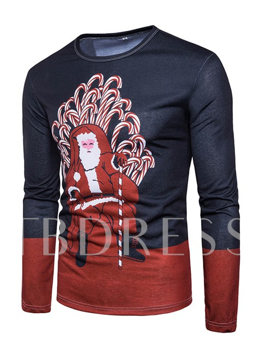 Round Color Patchwork Santa Claus Slim Fit Men's Long Sleeve T-Shirt