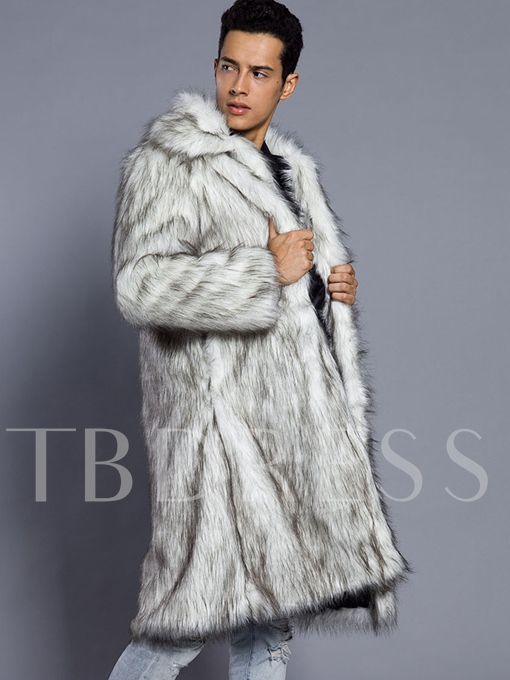 Fur and Leather Midi Pattern Solid Color Luxury Slim Fit Men's Winter Coat