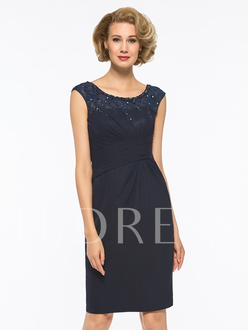 Scoop Neck Beading Sheath Mother Of The Bride Dress
