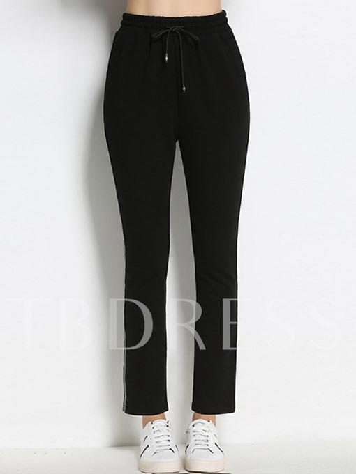 Plus Size Lace-Up Straight Women's Casual Pants